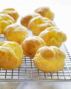 Pate a Choux. Bake 425 for 10 min, reduce to 350 bake 10 min more. Pierce with paring knife as soon as they're out of oven.