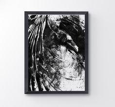 Messy Raven, Black And White Raven Art Print, Bird Poster, Crow Print, Raven decor, Bird Lover, Raven Painting, Black Bird Goth, Home Decor by BlackraptorArt on Etsy https://www.etsy.com/listing/230729497/messy-raven-black-and-white-raven-art