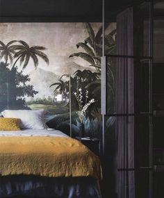 moody bedroom with exotic wall mural. / sfgirlbybay