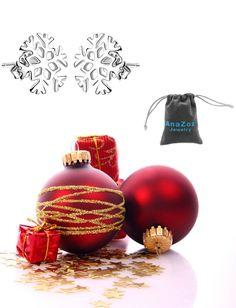 AnaZoz Joyería de Moda Pendientes de Mujer Chapado en Plata Pendiente Copo de Nieve Simple Regalo Navidad Pendientes Para Mujer