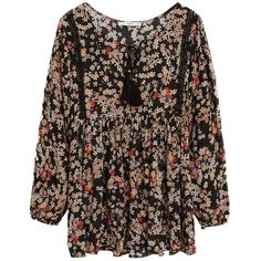 Mango Floral Print Blouse, Black ($23) ❤ liked on Polyvore featuring tops, blouses, dresses, floral, shirts, bohemian blouse, long sleeve tie neck blouse, boho blouse, neck tie blouse and necktie blouse