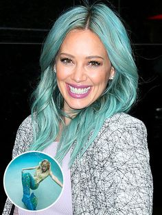 Pastel Hair Is Everywhere! Here's What's Inspiring Stars to Go Colorful | HILARY DUFF: A MERMAID | The Younger actress thanked her stylist for turning her into an ocean goddess, and we'd like to thank her for showing us a color that's not quite Katy Perry-cobalt or Nicki Minah-green, but something in between that's totally Hilary.