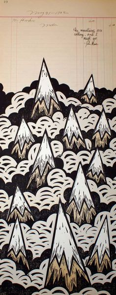linoleum block print by John Fellows.  love the use of found paper as backing and part of print.