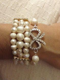 Pulsera perlas y pulsera perlas con moño