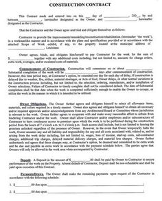 Construction+company+contract+template | Sample Construction Contract |  Contract Papers | Pinterest | Construction Contract  Blank Construction Contract