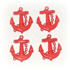 Red Plastic Anchors  Jewelry Making by TheCraftyBowtiqueToo