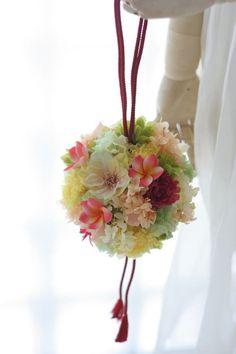 和装ブーケ 手まり 東郷記念館様へ と ブーケのその後と 自分で作る母の日ギフト : 一会 ウエディングの花