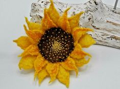 Flower Handmade Multi-Petal 100/% Wool Wet Felted Gold Flower With Orange and Yellow Balls and Pin