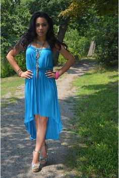 turquoise blue high low Forever 21 dress