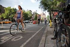 BICYCLING SURGES ACROSS THE COUNTRY, OUTPACING CRITICS' COMPLAINTS - 9th Avenue in NYC