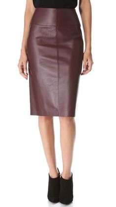 Oxblood (well, sorta) pencil skirt...yes, please! MAISON ULLENS Leather Pencil Skirt