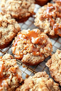 Caramel Apple Muffins, full of tart, juicy apples, topped with a crumbly streusel and a drizzle of caramel. They're my new favorite thing. Muffin Recipes, Apple Recipes, Fall Recipes, Sweet Recipes, Breakfast Recipes, Dessert Recipes, Baking Desserts, Health Desserts, Apple Muffins
