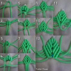 Best 9 Macrame tutorial: The simple leaf – Simple leaves pattern – SkillOfKing. Macrame Knots, Macrame Jewelry, Macrame Bracelets, Burlap Flowers, Beaded Flowers, Fabric Flowers, Satin Flowers, Leaf Crafts, Burlap Crafts