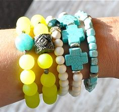 neon + turquoise stack bracelets