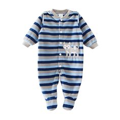 Blue Striped Cute Puppy Patterned Cotton Jumpsuit for Baby/Toddler, 50% discount @ PatPat Mom Baby Shopping App