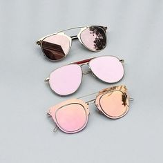 Decison decision decision… Which one for this weekend? From top to bottom: Morrocco Rose Gold Frame Pink Sunglasses $45 Mexico Mirror Aviator Sunglasses $45 Luxembour Color Shift Pink/Green/Gold Sunglasses $45 Shop our sunglasses collection here at www.helloparry.com