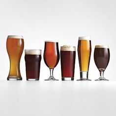 need to find glasses for Nate as an anniversary gift :) 6 unique glass styles for different types of beer glass shape helps to enhance aroma and taste of beer includes: classic pilsner, English pub, Belgian ale, craft pub, stout/porter, wheat beer