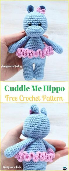 Crochet Amigurumi Cuddle Me Hippo Free Pattern - Amigurumi Crochet Hippo Toy Softies Free Patterns Crochet Hippo, Crochet Amigurumi Free Patterns, Easy Crochet Patterns, Cute Crochet, Crochet Crafts, Crochet Dolls, Crochet For Kids, Crochet Baby, Crochet Projects
