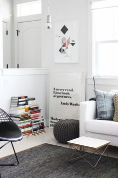 White room, black and grey accents