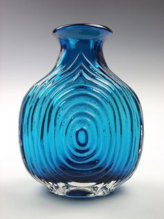 9828 Whitefriars kingfisher blue coloured nipple glass vase by art-of-glass, via Flickr