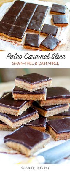 No Bake Chocolate Caramel Slice | Paleo, Vegan, Gluten-free | Click here: http://eatdrinkpaleo.com.au/paleo-chocolate-caramel-slice/