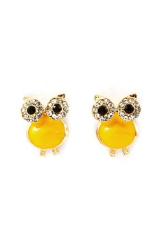 Lemony Crystal Owl Earrings.