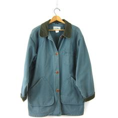Vintage LL Bean Barn Coat Blue Green Denim Chore Jacket Ranch Coat... ($60) ❤ liked on Polyvore featuring outerwear, coats, oversized trench coat, womens plus size coats, plus size coats, plus size trench coat and denim barn coat