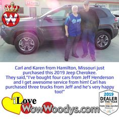 We love our happy royal loyal customers! Thank you, Carl and Karen, for always choosing Woody's Automotive Group! Congratulations on your 2019 Jeep Cherokee! 🎉 #carshopping #happycustomers #jeepcherokee