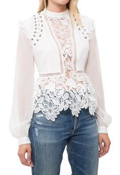 Self-Portrait | Multicolor Lace Detail Top | Lyst