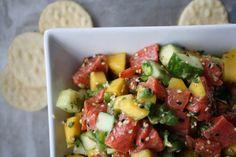 SALMON CEVICHE || salmon, cucumber, mango, avocado, jalapeno, cilantro, lime, sesame seed, sesame oil