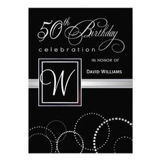 24 best 50th birthday invitation templates images on pinterest 50th birthday party adult silver monogram invitation filmwisefo