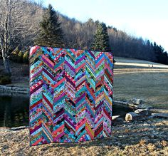A Winter Herringbone Quilt by Maureen Cracknell - Gorgeous rich colours, stunning setting. Quilting Projects, Quilting Designs, Sewing Projects, Herringbone Quilt, Cat Quilt, Quilt Art, 9 Patch Quilt, String Quilts, Chevron Quilt