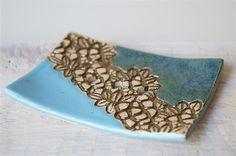 Ceramic, Soap Dish, Ceramics and Pottery, Lace Decor, Blue, Blue Color