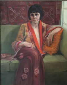 Francisca Louw - Kitty in a silk kimono 2015 Oil on canvas. Sight size method of drawing and painting from life.