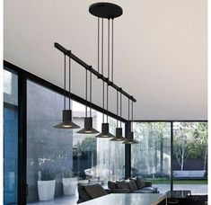 Satin Black / RP11 - Reflector Suspenders LED 1-Tier Linear Pendant