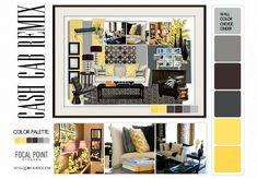 cash cab remix - FL Living Room Design - Moodboard - Roomboard design by Lynda Quintero-Davids - Focal Point Styling @ nyclqinteriors Design A Space, E Design, Interior Design, Interior Presentation, Presentation Design, Black And White Interior, Small Space Solutions, Living Room Designs, Thrifting