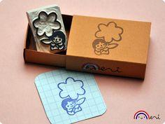 Flower message handcarved rubber stamp