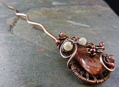 Chrysopoeia - Copper Hair / Shawl Pin With Agate - This beautiful shawl / scarf / hair pin serves as a talisman to our constant transformation. Chrysopoeia is reminder that our ultimate transformation is our connection to life. by SkyAndBeyond, $23.00