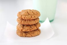 5 minute staple ingredient peanut butter cookies that are just 80 calories! One of my favorite last minute treats.
