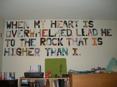 Dorm ideas! Just made this with my roommates. #Psalm 61:2 #Craft Night @Libby Snyder's room (: