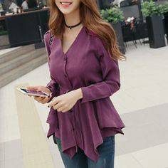 Stylish V-Neck Long Sleeve Asymmetrical Solid Color Women's Blouse