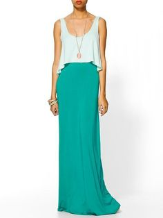 Sometimes all you need is a bright pop of color to create a stunning look. Get this look with the MHOC aqua maxi skirt on Amazon.
