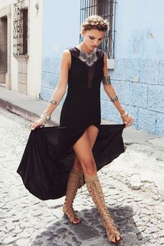 Vestido negro largo de For Love & Lemons