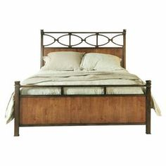 "Bed with metal latticed details.  Product: Bed Construction Material: Wood and metalColor: Natural and brownDimensions: Queen headboard: 56"" H x 65.5"" W x 2.5"" DKing headboard: 56"" H x 84.5"" W x 2.5"" D"