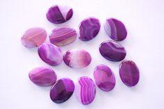Large Purple Agate Stone Beads 22x32 Flat Oval by TheBeadBandit, $4.49