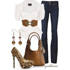 Not Your Average Neutrals, created by cynthia335 on Polyvore. Love this set although maybe I would wear my lower heal leopard print shoes!