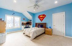 Superman themed kids bedroom. 9787 Erin Woods Drive, Dublin, OH.