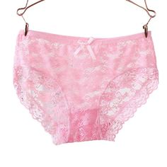 4063aec59d Womens Sexy Panties Lace Floral Underwear with Bowknot Breathable Hollow  Panty