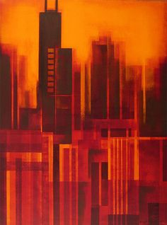 paintings of the chicago skyline - Google Search