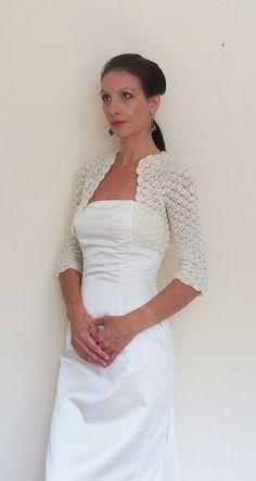 Wedding SHRUG BRIDAL BOLERO Jacket /Crochet Lace by HandmadeLaremi, $79.00